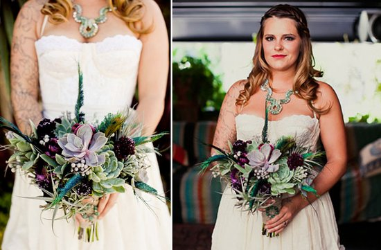 photo of Naughty + Nice Succulent Bridal Bouquets