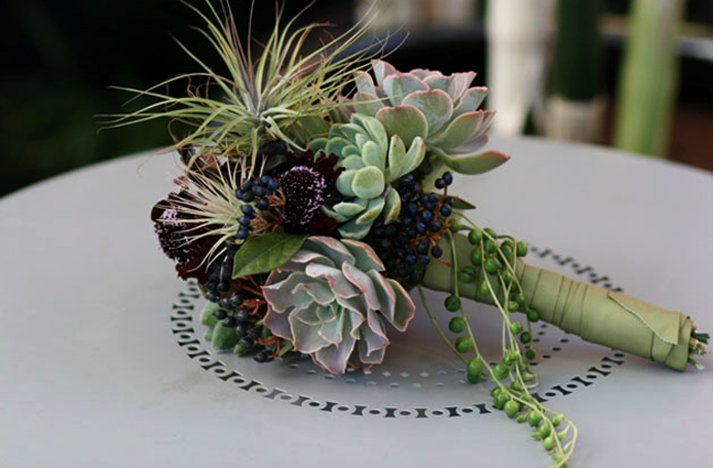 Purple and green succulent bridal bouquet