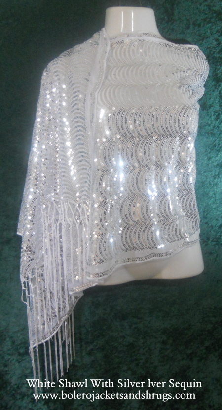 White wedding shawl with silver sequin