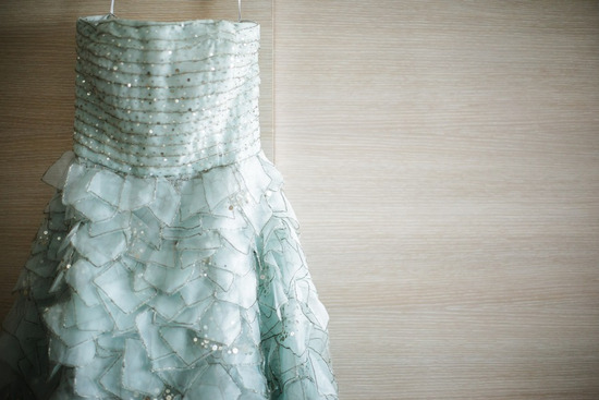 Light Blue Oscar de la Renta wedding dress