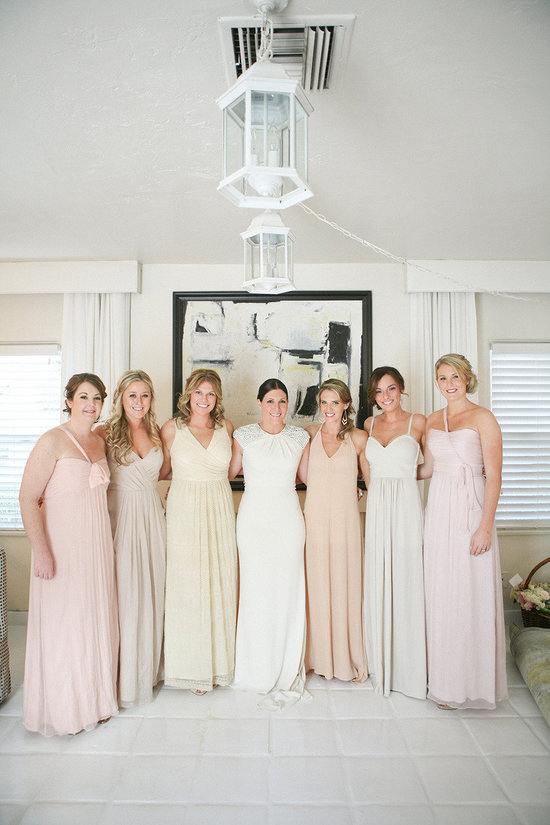 Pastel mix and match long bridesmaid dresses