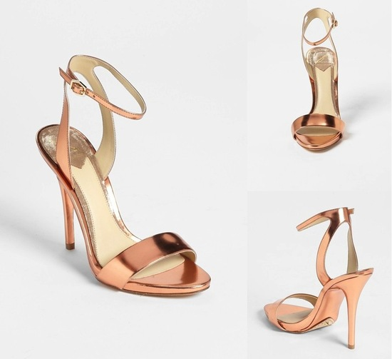Rose gold strappy wedding shoes