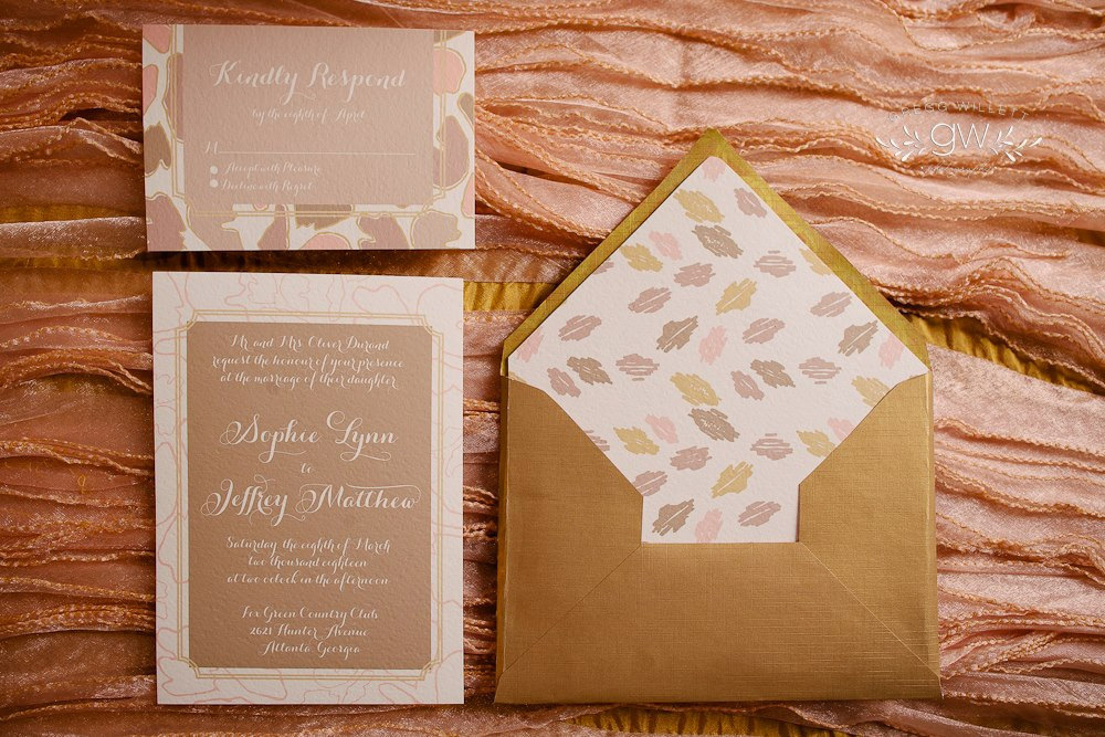 Nature Inspired Rose Gold And Ivory Wedding Invitations Onewed Com