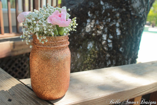 Rose gold glitter wedding mason jar