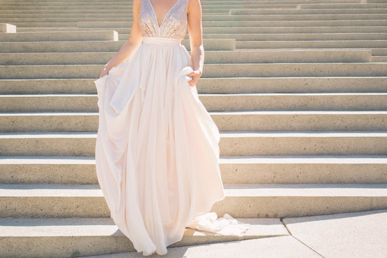 romantic rose gold bridesmaid or wedding dress