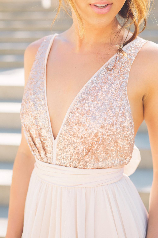 Sequin Rose Gold Bridesmaid Dress Onewed Com
