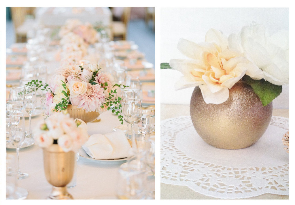 rose and yellow gold romantic wedding centerpiece vases