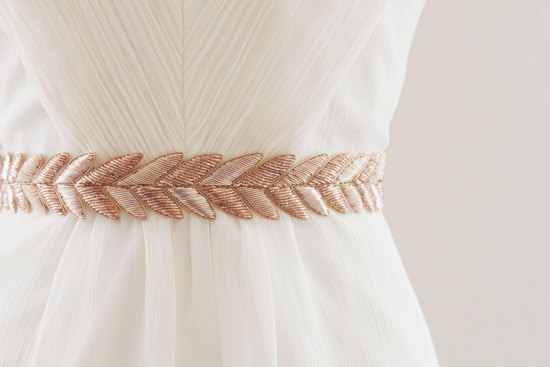 Rose gold metallic bridal belt