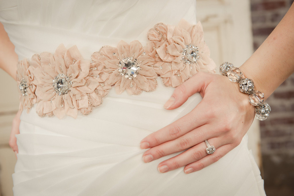 Rose gold floral with crystals bridal belt