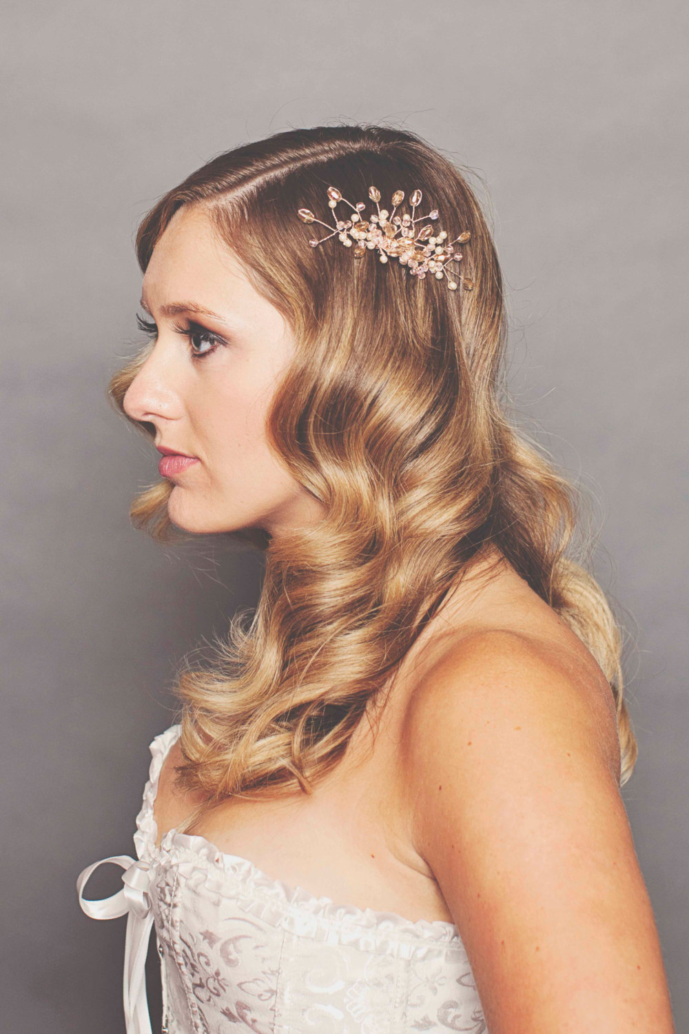 Rose gold crystal wedding hair clip