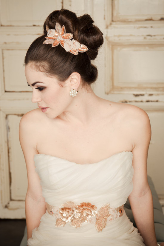 Rose gold beaded wedding hair clip