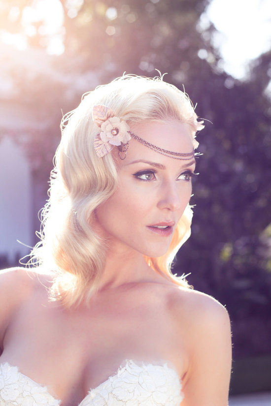 rose gold bohemian wedding headdress