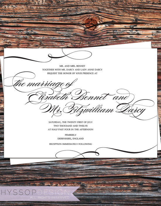 photo of Pride and Prejudice Printable Wedding Invitations by HYSSOPDESIGN