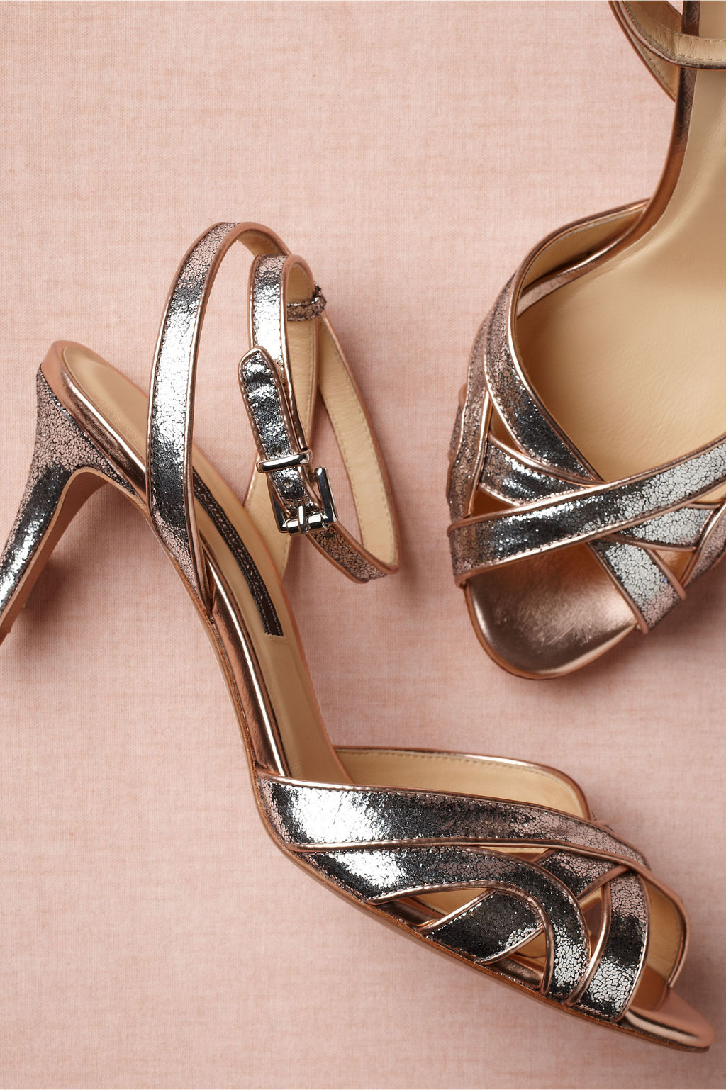 Rose gold and silver BHLDN wedding shoes