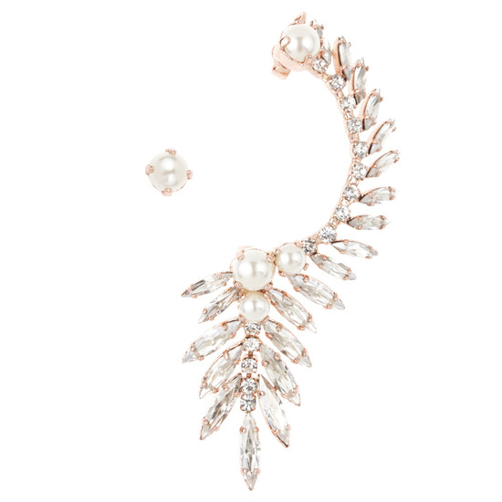 Rose gold and pearl ear cuff for brides