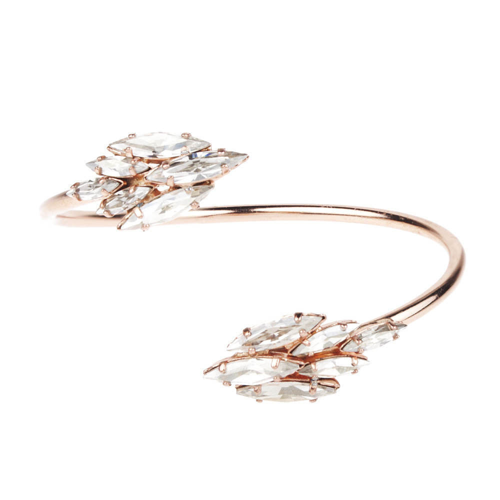 Rose gold and crystal bridal cuff bracelet