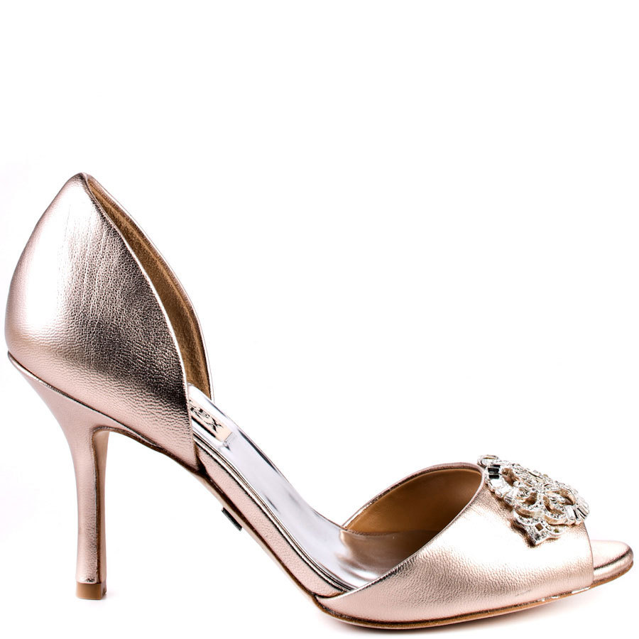 Rose gold badgley mischka wedding shoes