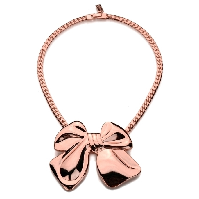 Rose gold bow wedding necklace