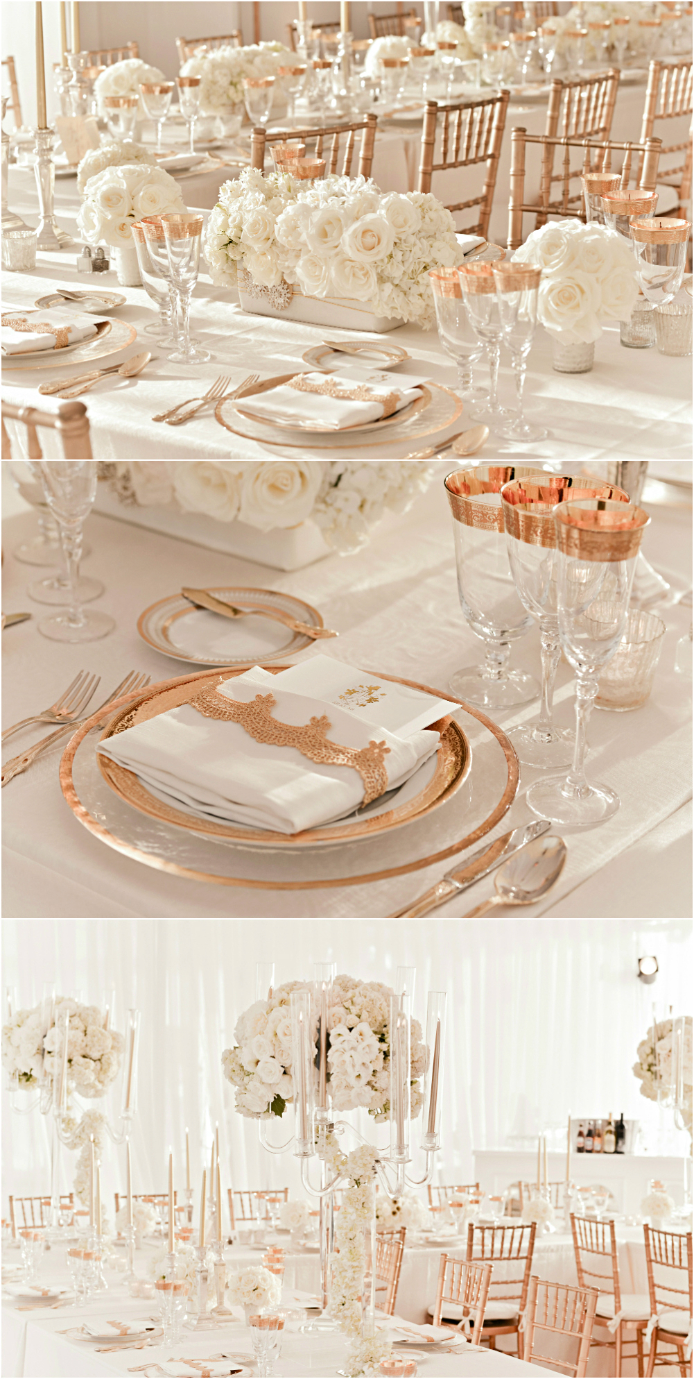 Rose gold and ivory wedding reception decor for Decoration rose gold