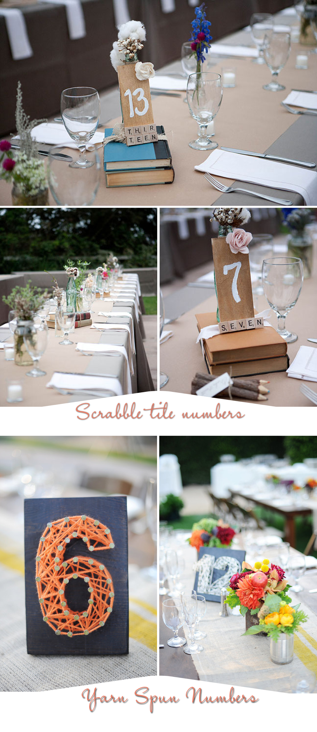 unique wedding reception table number ideas scrabble tiles and homespun yarn. Black Bedroom Furniture Sets. Home Design Ideas