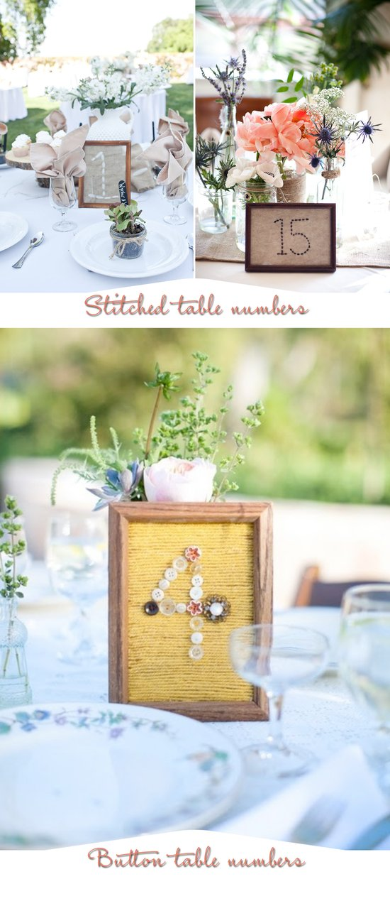 photo of Unique wedding reception table numbers- creative with scrabble tiles