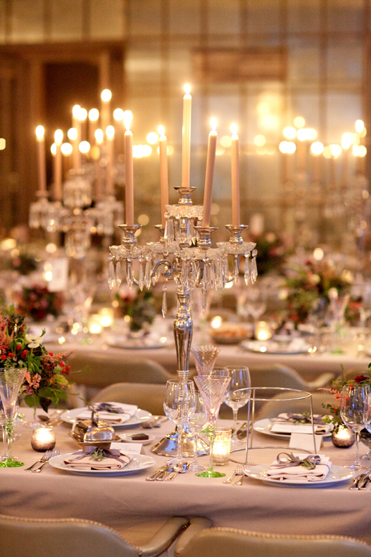 Winter Wedding Reception Table Set Up