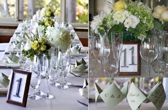 photo of unique wedding reception table numbers DIY wedding projects
