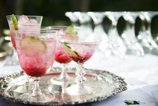 Summer wedding signature drinks Muddled Blueberry Gin and Tonics