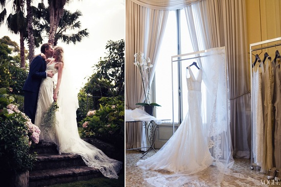 Celebrity weddings Candice Lake custom bridal gown