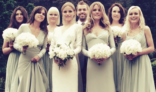 Dhani Harrison celebrity wedding poses with mix and match bridesmaids