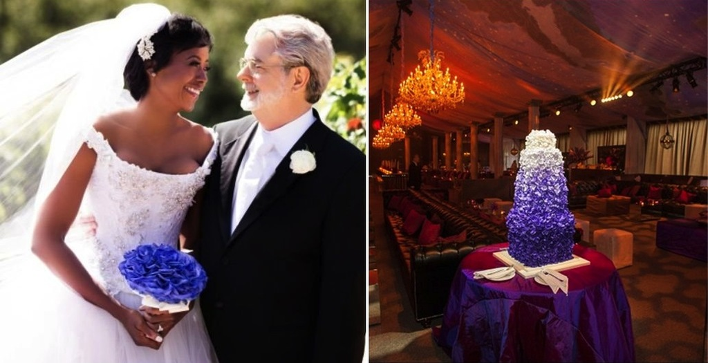 George-lucas-with-his-bride-and-ombre-purple-wedding-cake.full