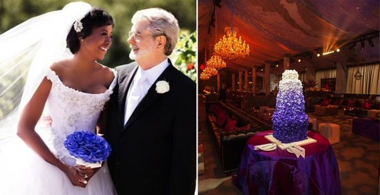 George Lucas with his bride and ombre purple wedding cake
