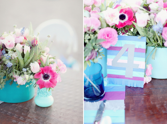 Modern aqua sky blue and purple wedding reception decor