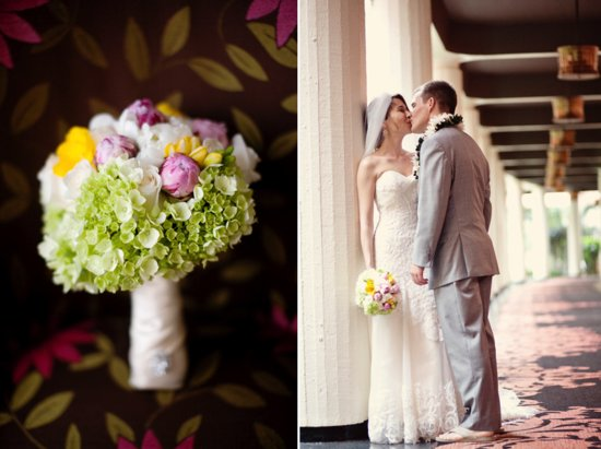 royal hawaiian wedding honeymoon giveaway- bridal bouquet, lace wedding dress