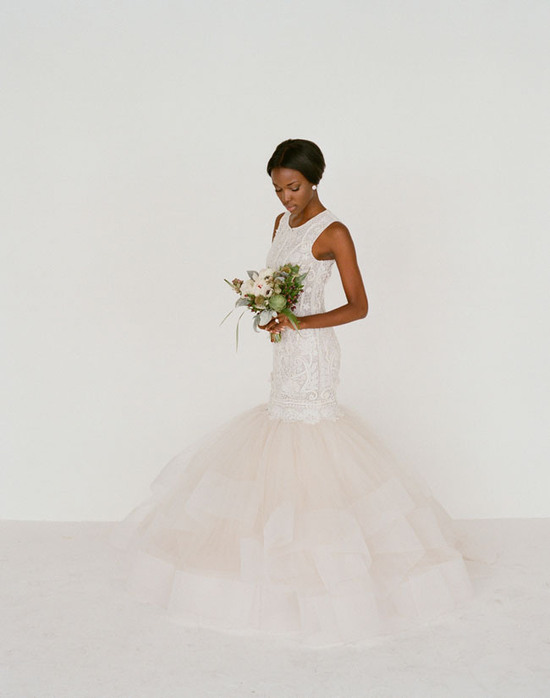 Drop waist mermaid wedding dress photographed by Elizabeth Messina