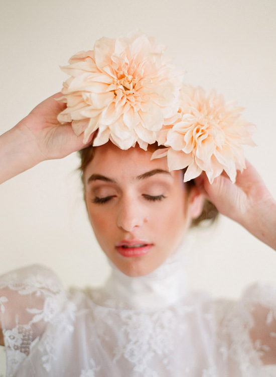 Soft peach floral wedding crown