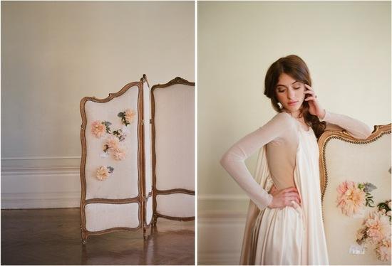photo of Soft peach floral wedding crown