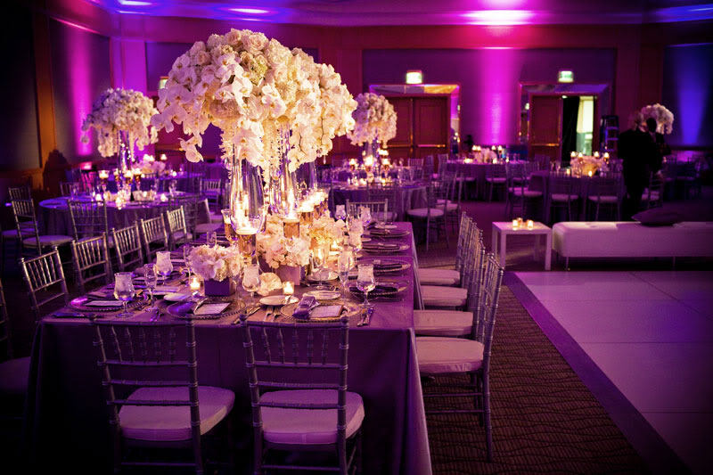 Modern Wedding Reception Design With Purple Lighting White Orchid Centerpieces