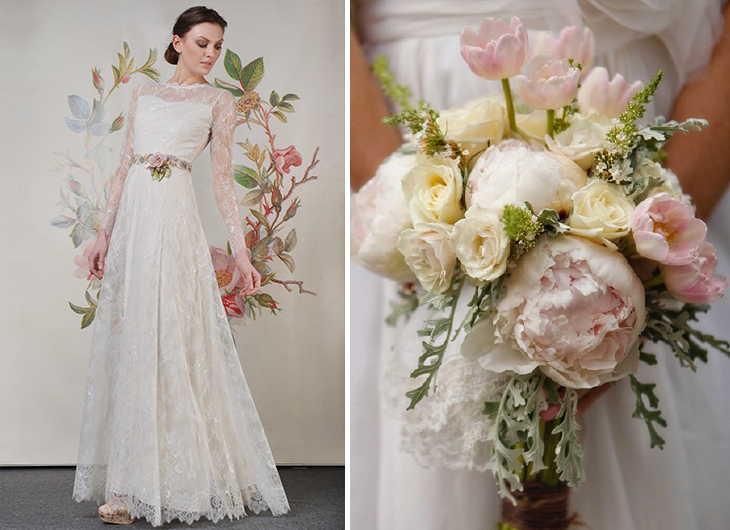 Sleeved Claire Pettibone wedding dress paired with a matching bouquet