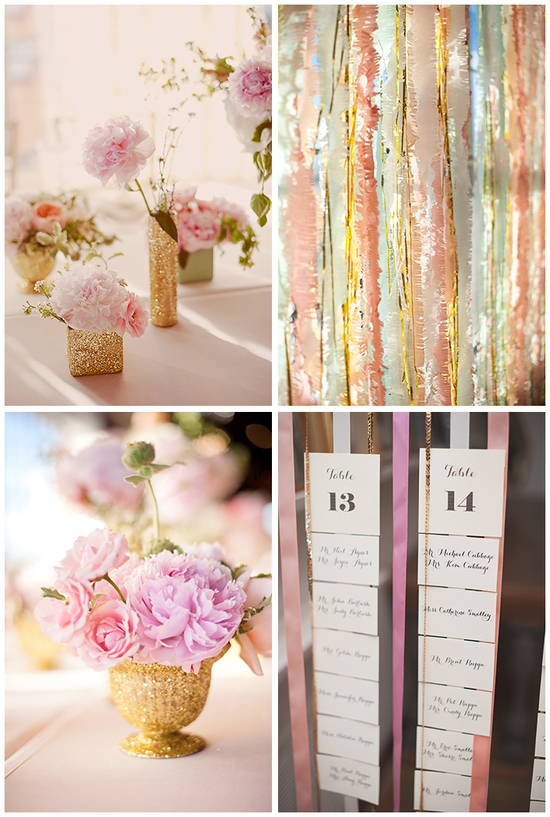 Pastels with gold wedding reception decor