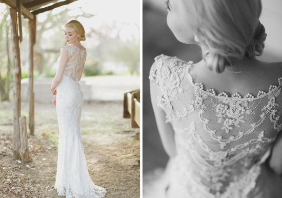 photo of Lace illusion wedding dress back from Claire Pettibone