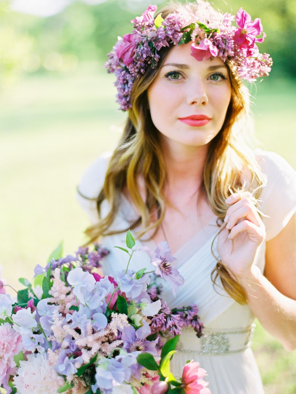 Spring bohemian bridesmaid with purple floral crown izmirmasajfo