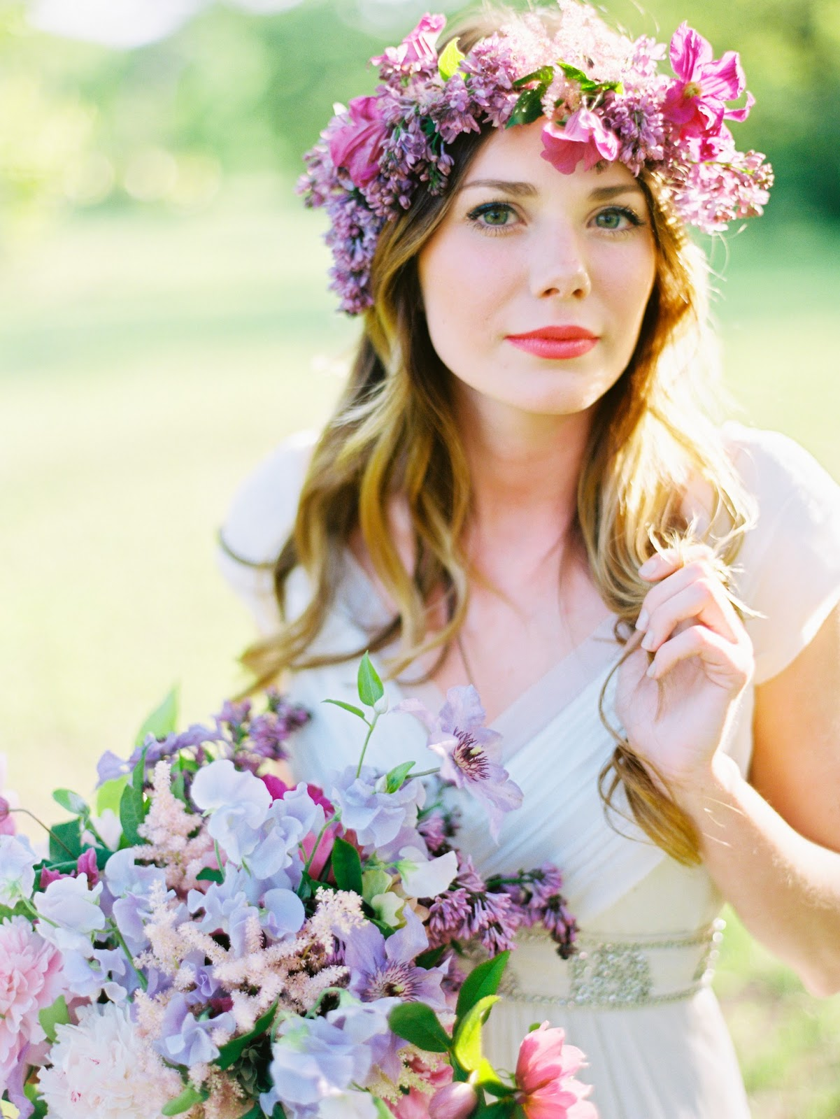 Purple Bohemian Wedding Spring Bohemian Bridesmaid With Purple Floral Crown Original