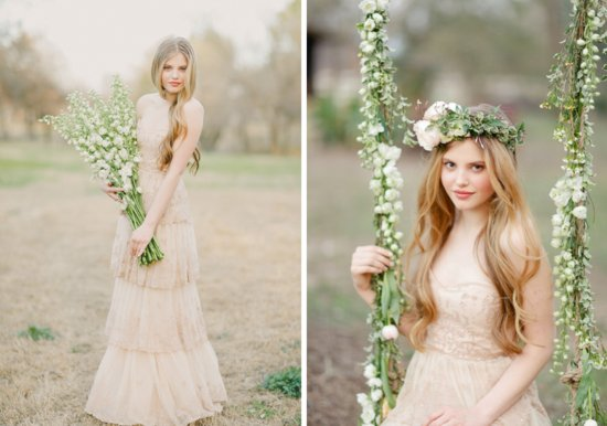 Beige Wedding Dresses: Beige Lace BHLDN Wedding Dress Or Bridesmaid Gown