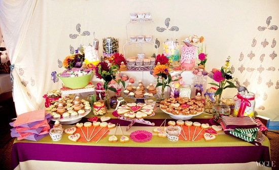Dessert table at celebrity wedding of Lady Mary Charteriss