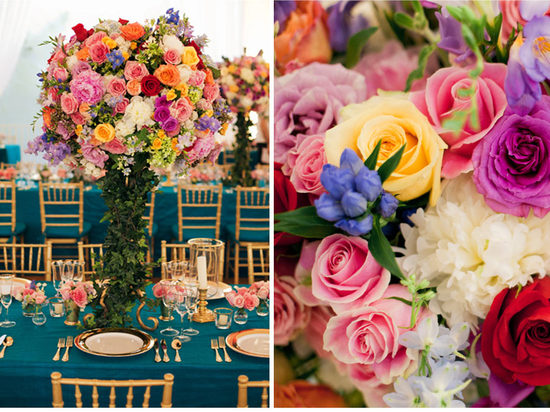 Celebrity candy colored wedding bright centerpieces