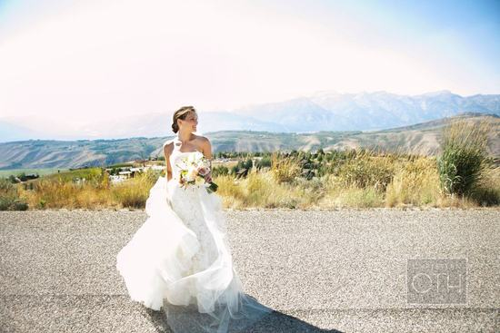 Rustic elegant bride wears Lazaro mermaid wedding dress