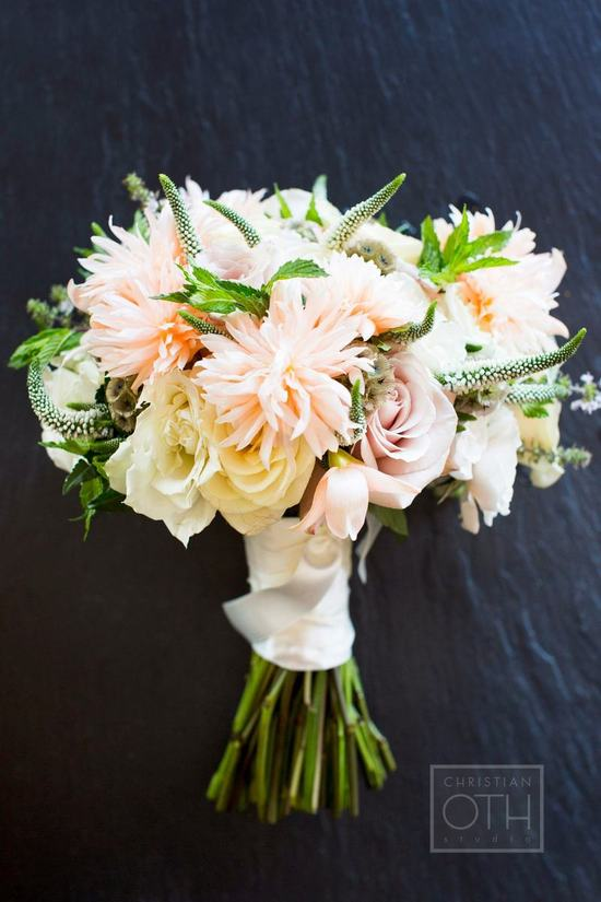 Romantic peach buttercream ivory wedding bouquet