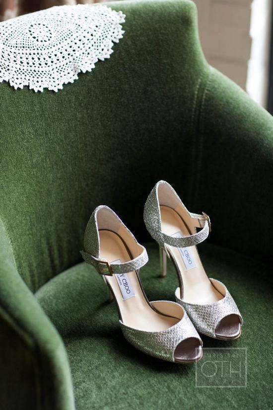 classic Jimmy Choo wedding shoes silver peep toes