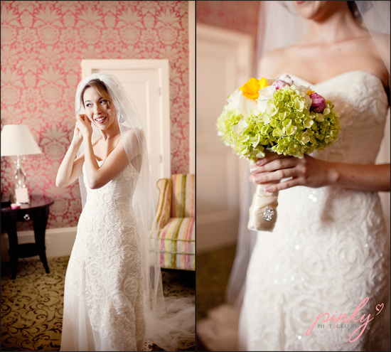 Royal Hawaiian destination wedding- bride poses in lace wedding dress